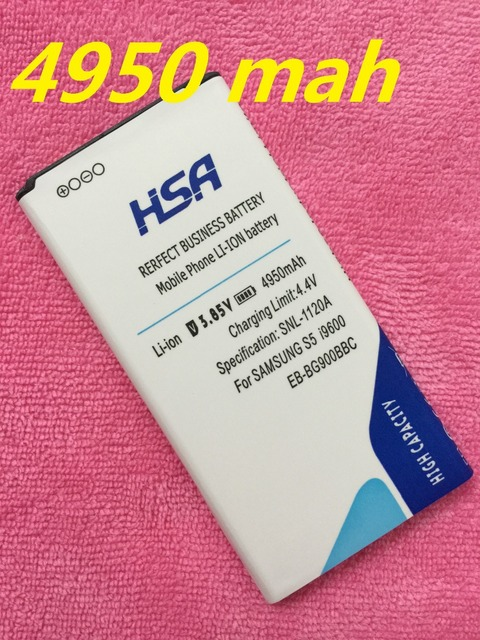 HSA 4950mAh High Capacity S5 Battery Phone for Samsung Galaxy S5 i9600 SM-G900 g910L/910S/910K/G9006V/G9008V/G9009D/G900 battery