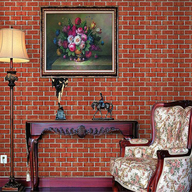 Beibehang Retro 3D Wallpaper Stereo Brick Red Culture Stone Roll Room Living Bedroom