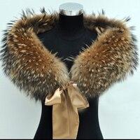 2018 высокое качество натуральной енота меховой воротник Свадебные мыс супер большой меховой шарф 100% натуральный мех платок женский перекос