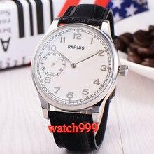 44mm Parnis cadran blanc remontage manuel 6497 montre pour hommes bracelet en cuir boîte en acier inoxydable mécanique hommes montre