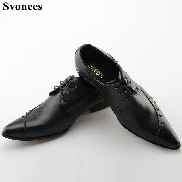 Svonces Stud Mens Dress Shoes Genuine Leather Pointed Toe Classic Men Formal  Business Flat Shoes Elegant Gentleman Wedding Shoes 7ea3dcd8e8ce