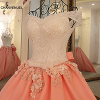 LS32410 Luxury evening dresses with crystals satin sweetheart corset back vestido longo de festa peach color evening dress long