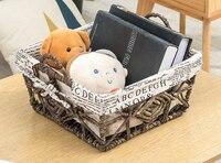Rattan storage basket straw storage basket handmade garden storage basket double handle snack box underwear storage box