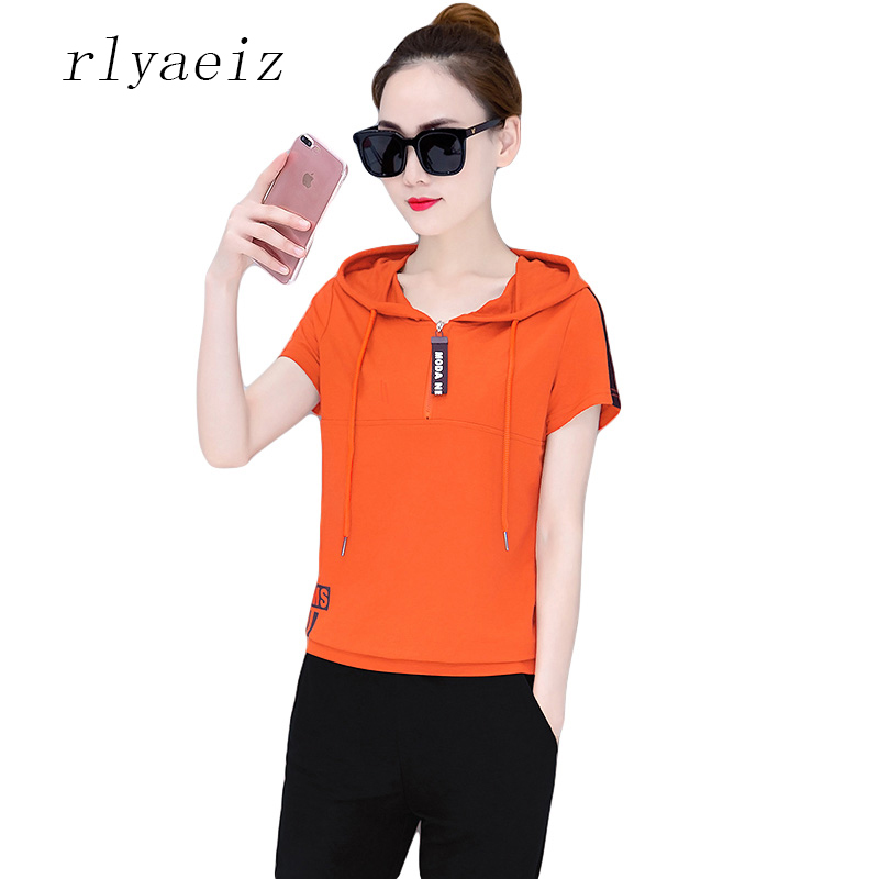 Rlyaeiz Brand New 2018 Summer Fashion 2 Piece Set Women Sporting Suit Letter Striped Hoodies + Calf-length Pants Sweat Suit