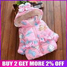 BibiCola new baby girl winter coat Children Outerwear, baby girls Cartoon cat Wi