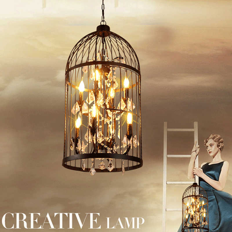 35/45cm Nordic Birdcage Crystal Pendant Lights Iron Cage Home Decor American Vintage Industrial Lamp Retro Lamparas Colgantes