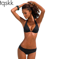 Valve 2017 New Sexy Halter Top Bikinis Women Swimwear Push Up Retro Female Swimsuit Bikini