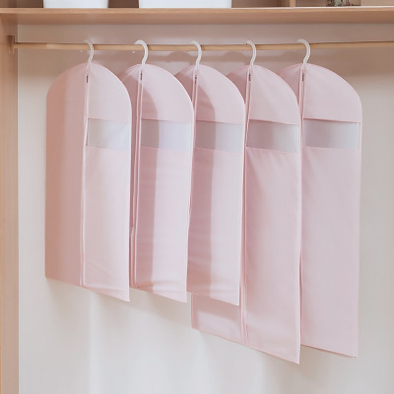 LF Sxsounai Pink Cover Protector Wardrobe Storage Bag Case For Clothes Trench Coat Dress Garment Suit Coat Dust Cover Storage