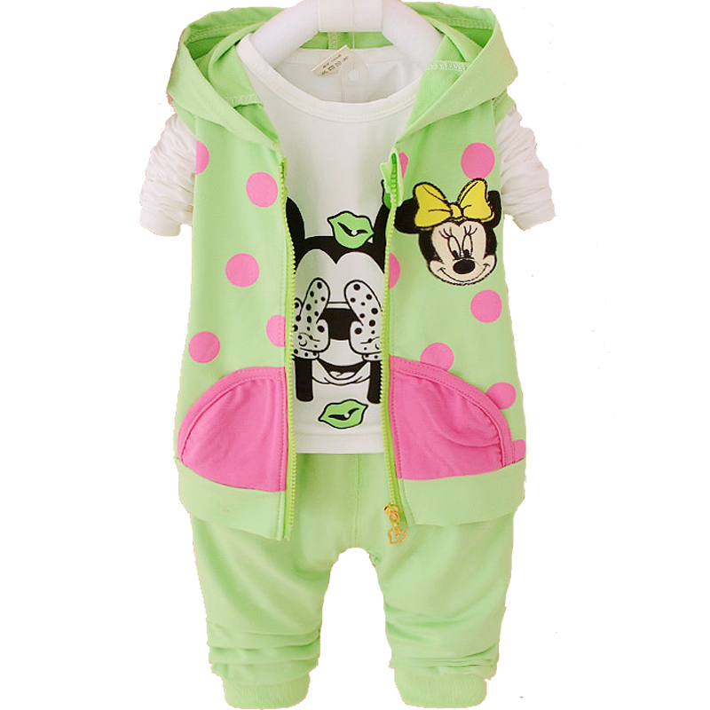 Hello Kitty Girl Baby Clothes Sets Kids Girls Hoodies With Zipper Minnie Sweatshirt 2PCS 3PCS Children Girl Clothing Sets 2016 new year girls mickey pajamas suit for 2 7years children nightgown pyjamas kids hello kitty minnie christmas pijamas