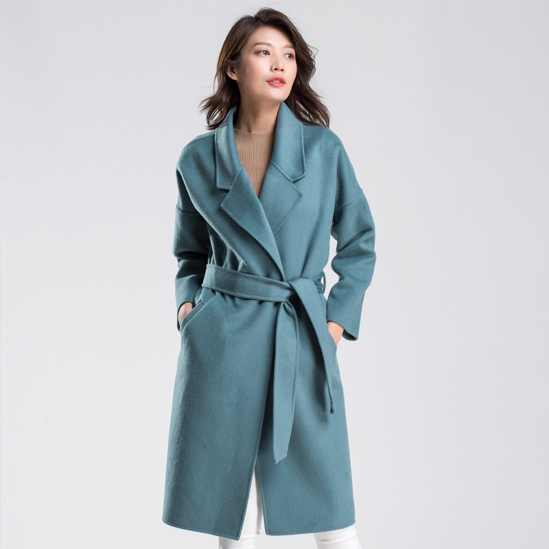 2017 autumn and winter new long wool woolen jacket Korean version of the high end double