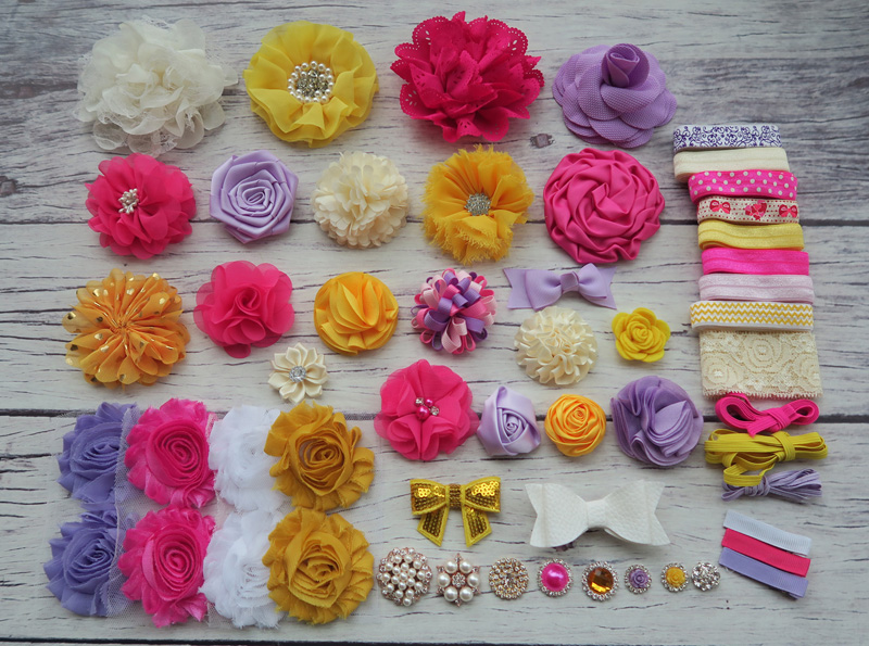 Shower Headband Station Kit,DIY Headband Making Kit,First Birthday Party Headband Kit,Hair Bow Kit ,yellow,ivory,S52 цена и фото