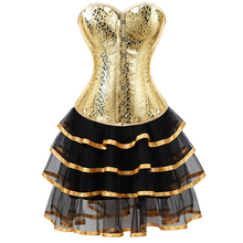 עור מחוך bustiers חצאיות שמלות טוטו בורלסק בתוספת גודל סקסי מחוך overbust תלבושות קוספליי גותי זהב עם בלינג