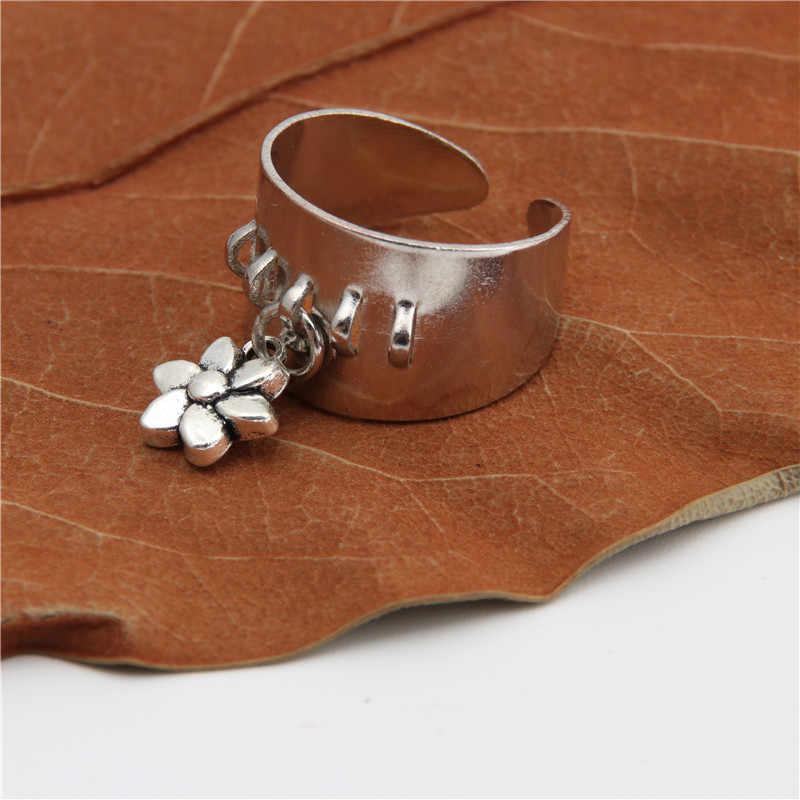 1 pc 新到着シルバーリング女性の花の結婚指輪菊ジュエリー調節可能なサイズドロップシッピング E1885