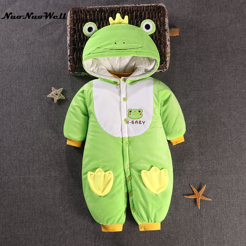 NNW Children Winter Jumpsuit Newborn Baby Boys Girls Romper Cartoon Thick Romper Long Sleeve Hooded Outwear Infant Baby Overalls puseky 2017 infant romper baby boys girls jumpsuit newborn bebe clothing hooded toddler baby clothes cute panda romper costumes