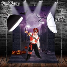 OurWarm Halloween Theme Pictorial Cloth Photography Backdrop Background Studio Prop Moon Bats Pumpkins Gravestone Party Decor moon white cloud vinyl photography background night sky oxford backdrop for children photo studio free shipping