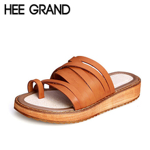 HEE GRAND Split Leather Flip Flops 2017 New Slippers Platform Shoes Woman Summer Casual Creepers Flats Size 35-43 XWZ3043