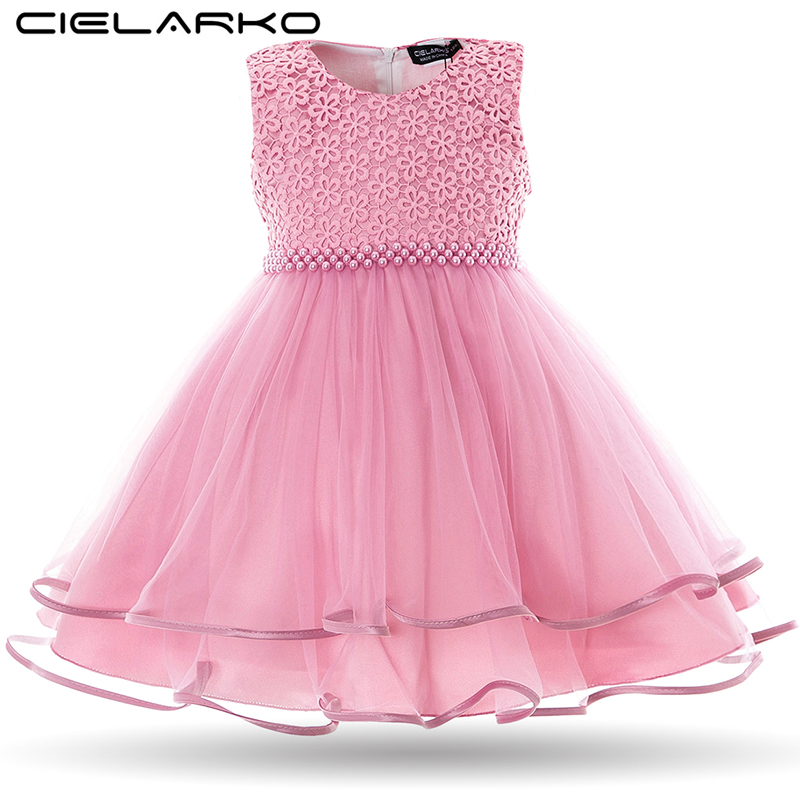 Cielarko Baby Girls Dress Pearls Infant Party Dresses Vintage Newborn Baptism Prom Gown Christening Frocks For Girl