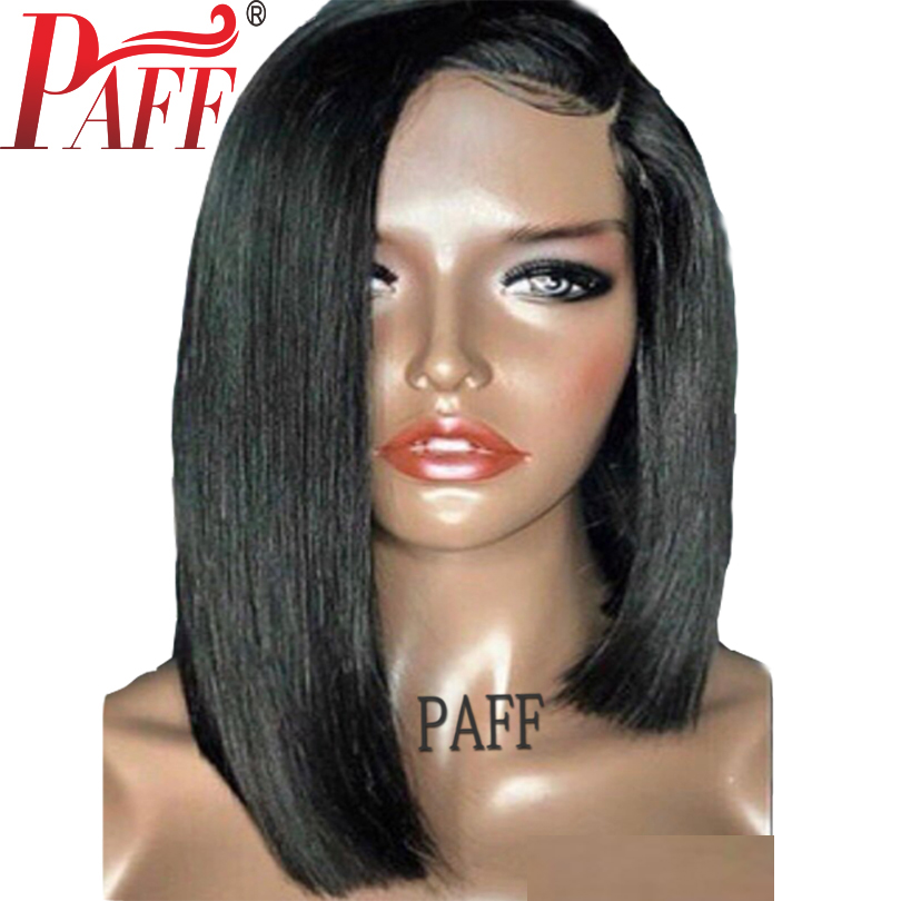 PAFF Lace Front Human Hair Wigs Pre Plucked Straight Peruvain Remy Hair Short Bob Wigs Bleached Knots Side Part Baby Hair ...