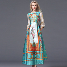 Luxury Long Dresses 2015 Fall Europe Fashion New Russian Style Sequins Long Sleeve Vintage Print Big Swing S-XL size for option