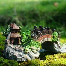 Сказочные Садовые принадлежности миниатюрный китайский стиль мост суккулентный миниатюрный Террариум/Аквариум/DIY Аксессуары