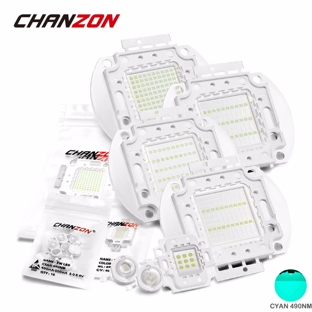 Chanzon High Power LED Cyan 490nm Bulb Chip 3W 5W 10W 20W 30W 50W 100W 490 nm Ice Blue DIY COB LED Beads Epileds high quality 730nm 740nm ir led chip 10w 20w 30w 50w 100w led lamp epileds led chip for detecting sensor laser flashlight