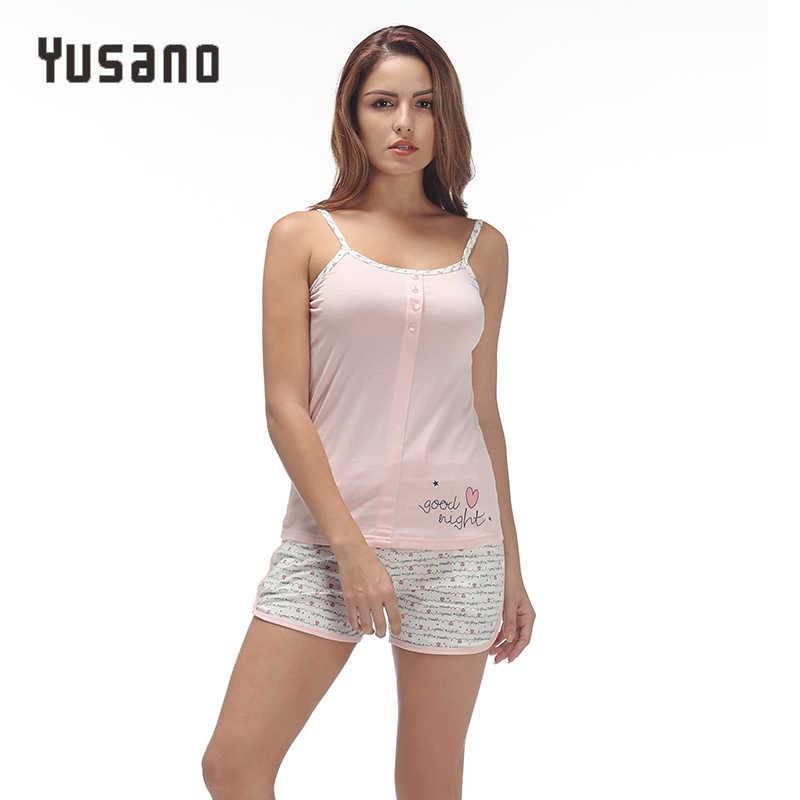 e3efbe51ef Yusano 2017 Unicorn Pajamas Set for Women Grey Pink Camisole Sleeveless Sleepwear  Sexy Print Buttom Tops