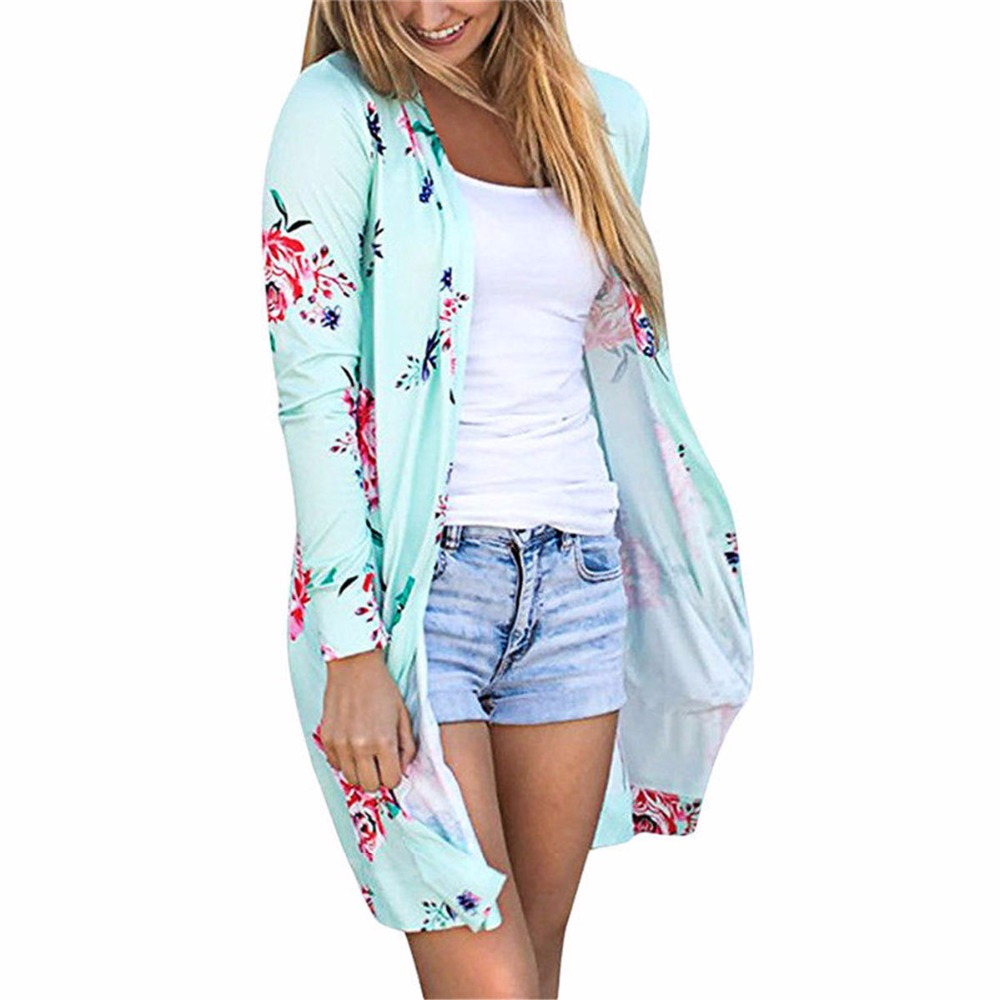 Women Floral Print Kimono Cardigan Summer Long Boho Top Blusas ...