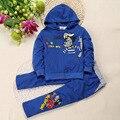 2016 Conjuntos de Roupa de Crianças Define Meninos Ternos Esportes Das Meninas Lobo Legal Impressão Zipper Azul Hoodies + Calças Ternos para 90-130 cm Crianças