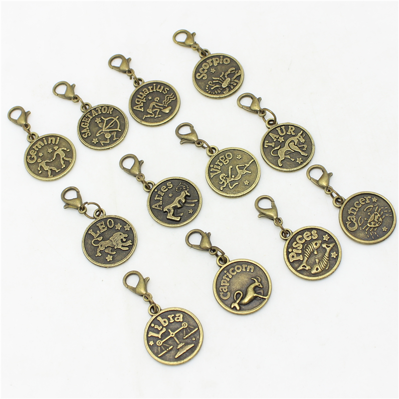 Sweet Bell 2 sets (24pcs) Assorted Antiqued bronze Zodiac charms twelve Lobster Clasp constellations Metal sign pendant D0984
