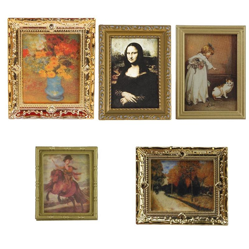 1:12 Miniature Frame Autumn Woods Mural Wall Painting Play House Toy Character Pretend Play Props Accessories 1PC