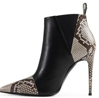 Newest Fashion Women Shoes Cheap Price Hot Selling New Design Ankle Pointe Toe Snake Print Leather