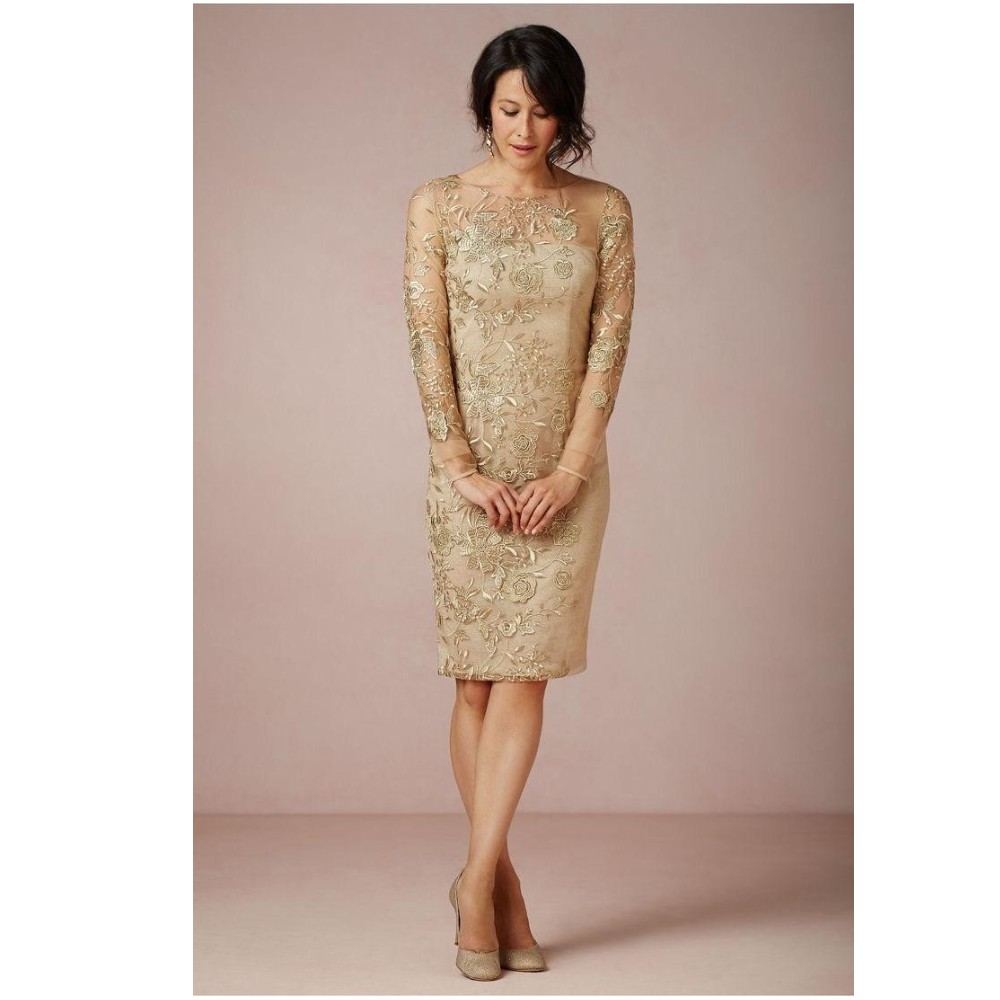 5e60d19bb6b5 Gold Mother Of The Bride Dresses Tea Length - PostParc