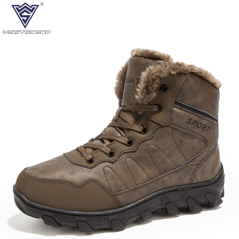 WEST SCARP Men Boots Winter Warm Plush Fashion Shoes Men Ankle Snow Boots, 100% Genuine Leather Shoes Men Boot Sapato Masculino 2017 cow suede genuine leather female boots all season winter short plush to keep warm ankle boot solid snow boot bota feminina