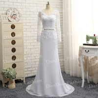 Real Photo Sheath Column Long Sleeves Scoop Appliques Crystal Beaded Custom Made Tulle Belt Bridal Gown