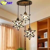 FUMAT 3Heads Glass Star Art Decor Pendant Lamps Loft Diamond Transparent Abrazine Lights Bar Round lamp Base Dinning Study Room