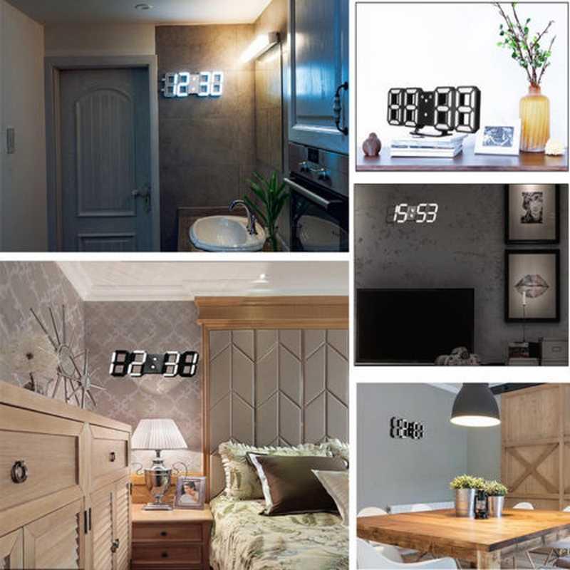 3D светодиодный цифровой настенные часы 4 яркость дисплей будильник с регулируемой яркостью ночник светящиеся висячие украшения для гостиной спальни