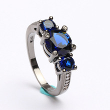 women's Fashion Jewelry Finger Rings Size 6/7/8/9/10 Blue synthetic Purple New vintage wedding gift  Black gold-color Ring