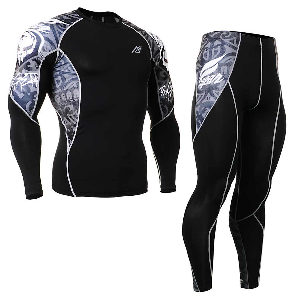 ФОТО outdoor men Long Sleeve Tights +pants leggings Summer style  compression Quick Dry  base layer Running spandex S-4XL