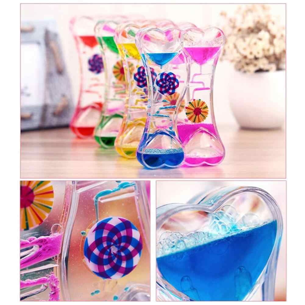 Double Heart Double Color Floating Liquid Oil Acrylic Hourglass Liquid Visual Movement Hourglass Timer Home Decoration