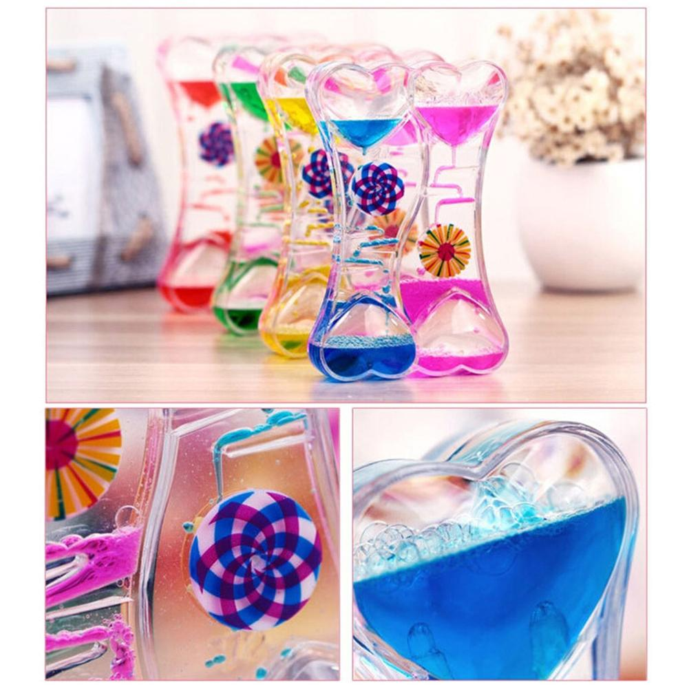 Double Heart Double Color Floating Liquid Oil Acrylic Hourglass Liquid Visual Movement Hourglass Timer Home Decoration(China)