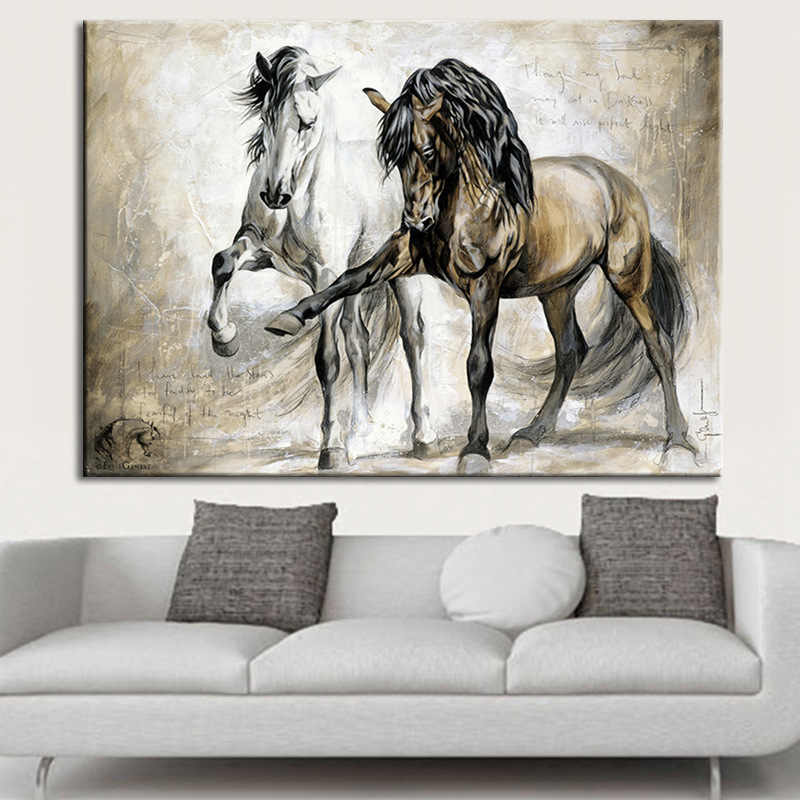 Retro Nostalgia Brown Horse Dance Wall Art Posters Living Room Animal Oil Painting On Canvas Wall Pictures For Home Decor