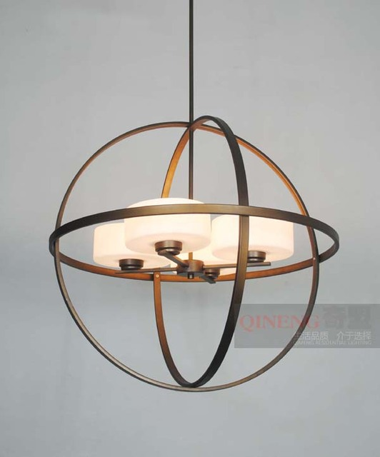 American style modern brief stair bedroom pendant light antique wrought iron bird cage spherical pendant light