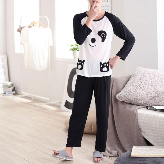Couples Sleepwear, Panda Cartoon Long Sleeve Pullover Pajamas Set