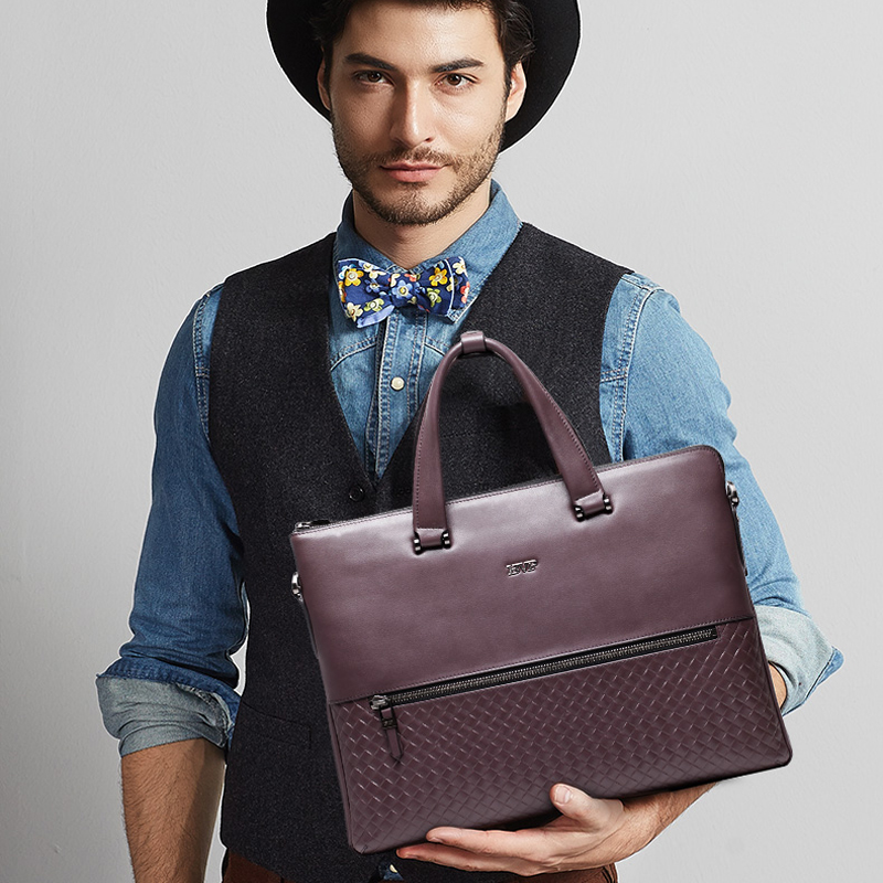 BVP Brand Design Business Genuine Leather Man Briefcase 14 Inch Laptop Case Fashion Briefcases For Men Leather Shoulder Bag 30