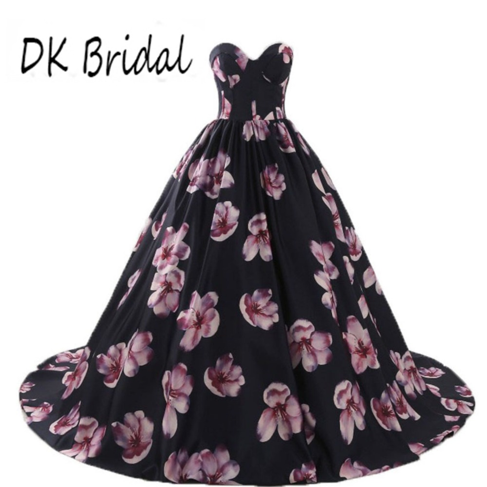 DK Bridal Floral Print Prom Evening Dresses Long Sweetheart 3D Flower Ball Gown Quinceanera Dress Black DK1904 in Prom Dresses from Weddings Events