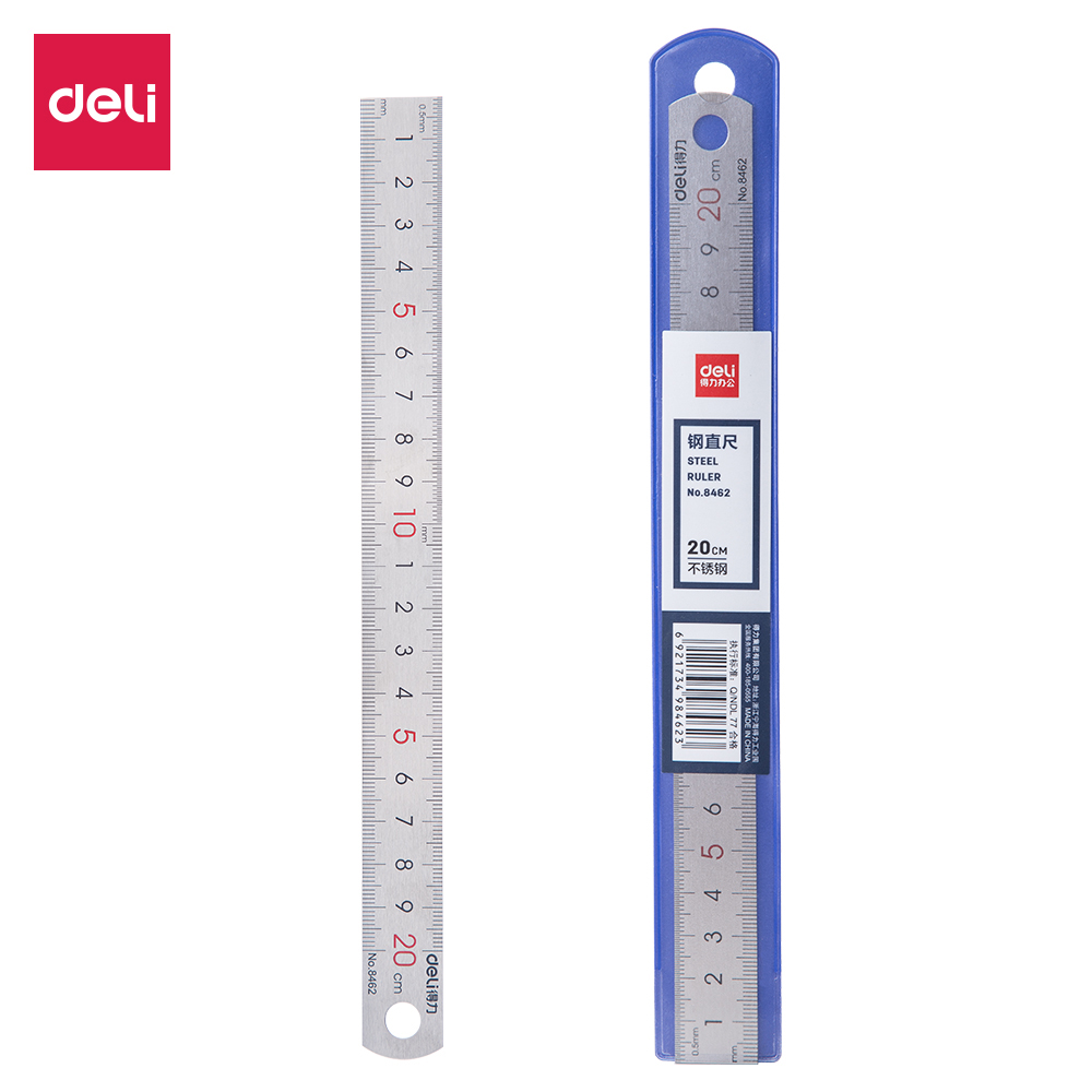 Deli Steel Ruler Metal Iron Stainless Inch Scale Straight Ruler 20cm 8462