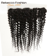 Rebecca 100% Remy Human Hair Ear To Ear Lace Frontal Closure Malaysian Deep Wave 13X4 Lace Frontal Free Shipping(China)