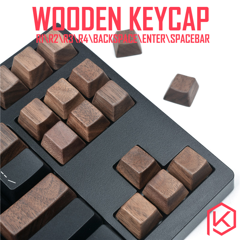 wooden keycaps wood keycap r1 r2 r3 r4 backspace enter spacebar arrow key wasd for 87 <font><b>tkl</b></font> 104 ansi xd64 xd75 xd96 xd84 cospad image
