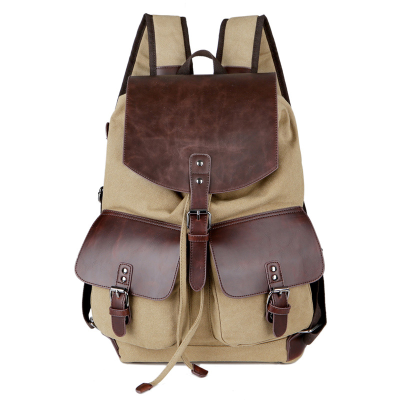 New High Quality Vintage Fashion Casual Canvas + Microfiber Leather Men Women Backpacks Shoulder  Bags For Lady Rucksack #2