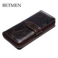 BETMEN Vintage Men Wallets Oil Genuine Leather Clutch Wallet Male Casual Purse